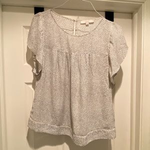 LOFT flutter sleeve white and black top Sz M